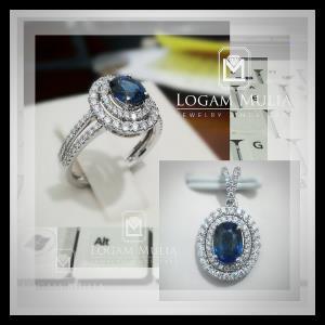 liontin berlian wanita dg blue sapphire arl rk p602333