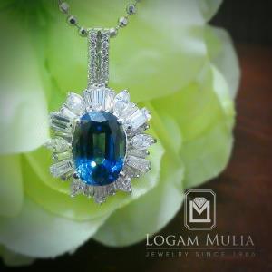 liontin berlian wanita dg blue sapphire crl ul 1508