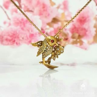 liontin berlian wanita batu ruby xl.hk.18k een 01105903009